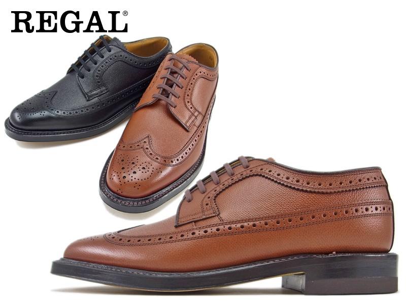 セール【2235NA】【REGAL】【送料無料】アッパー全て本革 型押し加工日本製☆グッドイヤーウエルト式製法プウイングチップ ビジネスシューズ紳士靴