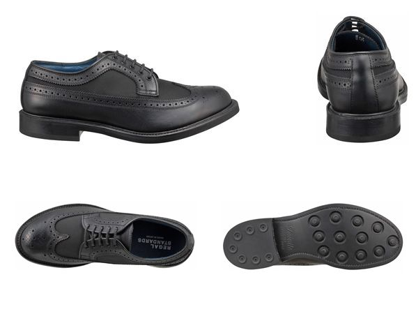 【50NRBG】【REGAL】【送料無料】【日本製】牛革×コーデュラナイロン☆グッドイヤーウエルト式製法ウイングチップビジネスシューズ紳士靴