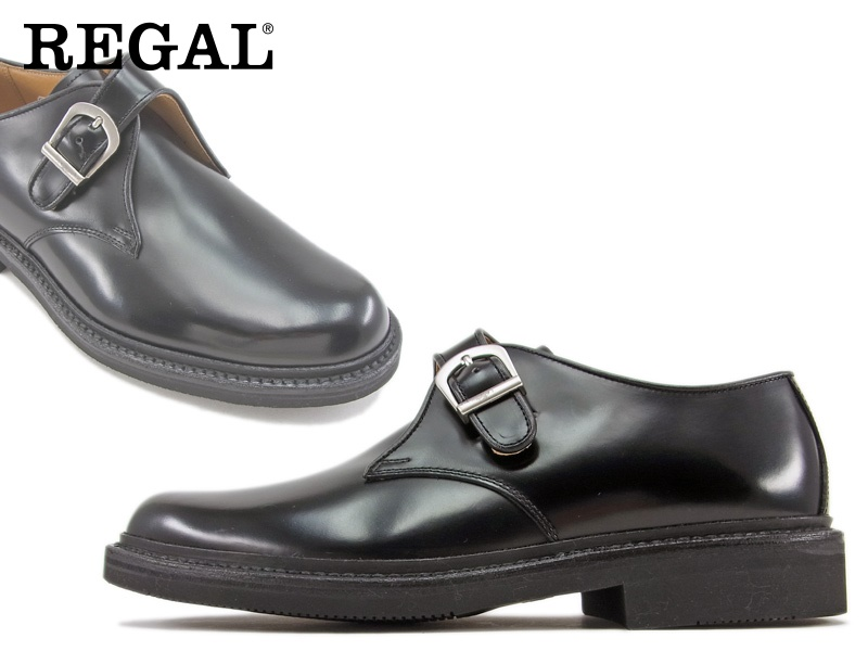 【JU16AG】【REGAL】【送料無料】【日本製】アッパー全て本革☆ステッチダウン式 製法ラバースポンジソールのモンクビジネスシューズ紳士靴