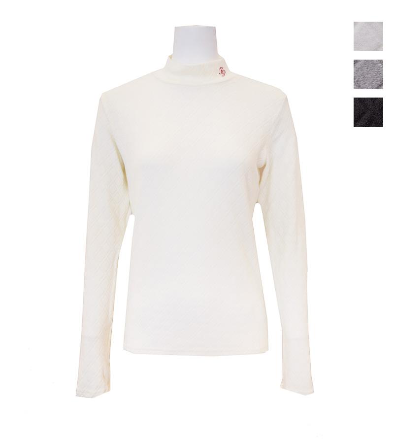 ゴルフウェアブランド 市場 セール特別価格 フェアリーパウダー 公式OnlineShop おしゃれ FairyPowde 秋冬 長袖 かわいい ネイビー 柄 ホワイト FP20-6101A レディースダイヤ柄ハイネックシャツ 全3色