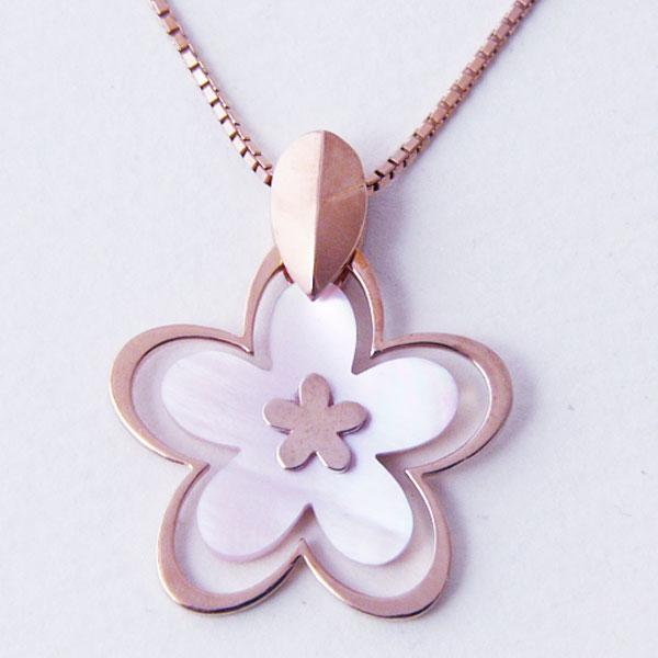 お花 フラワー モチーフネックレス ピンクゴールド カラー ネックレス 誕生日 記念日 ギフト クリスマス ホワイトデー ジュエリー