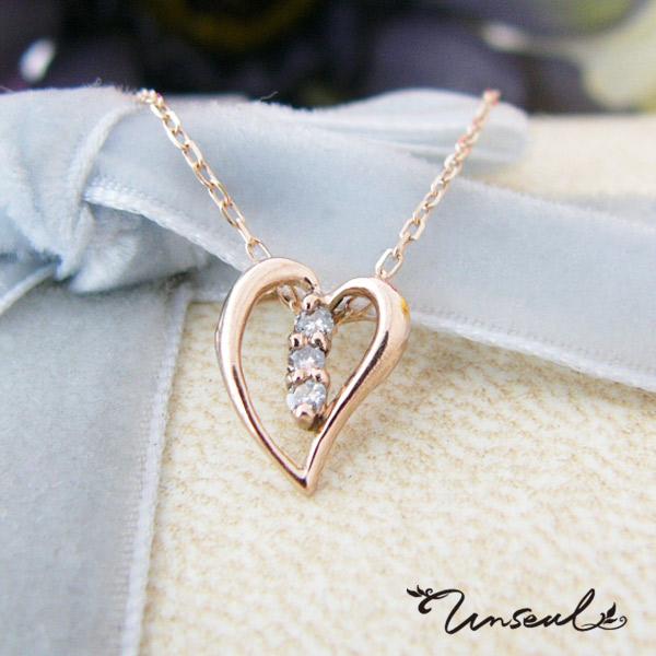 ネックレス ペンダント レディース ハート ダイヤモンド K10 unseul ピンクゴールドカラー ホワイトデー