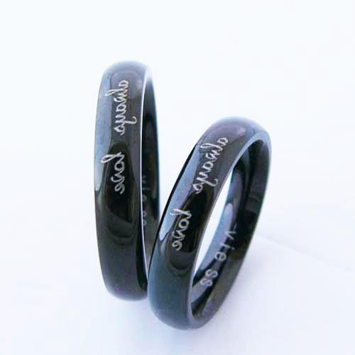 ペアリング ステンレス 刻印無料 vie ブラックカラー 金属アレルギー対応アクセ 低アレルギー vie-r1004bk シンプル 人気