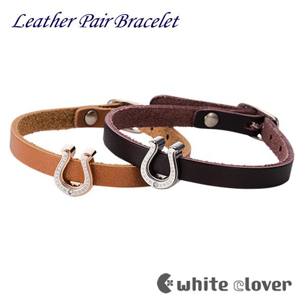ステンレス ペア ブレスレット レザー 金属アレルギー対応 人気 サージカルステンレス316L 馬蹄 モチーフ 円周率 ピンク ブラック レザーブレスレット 革 ベルト whiteclover 4SBR022GO 4SBR022BK