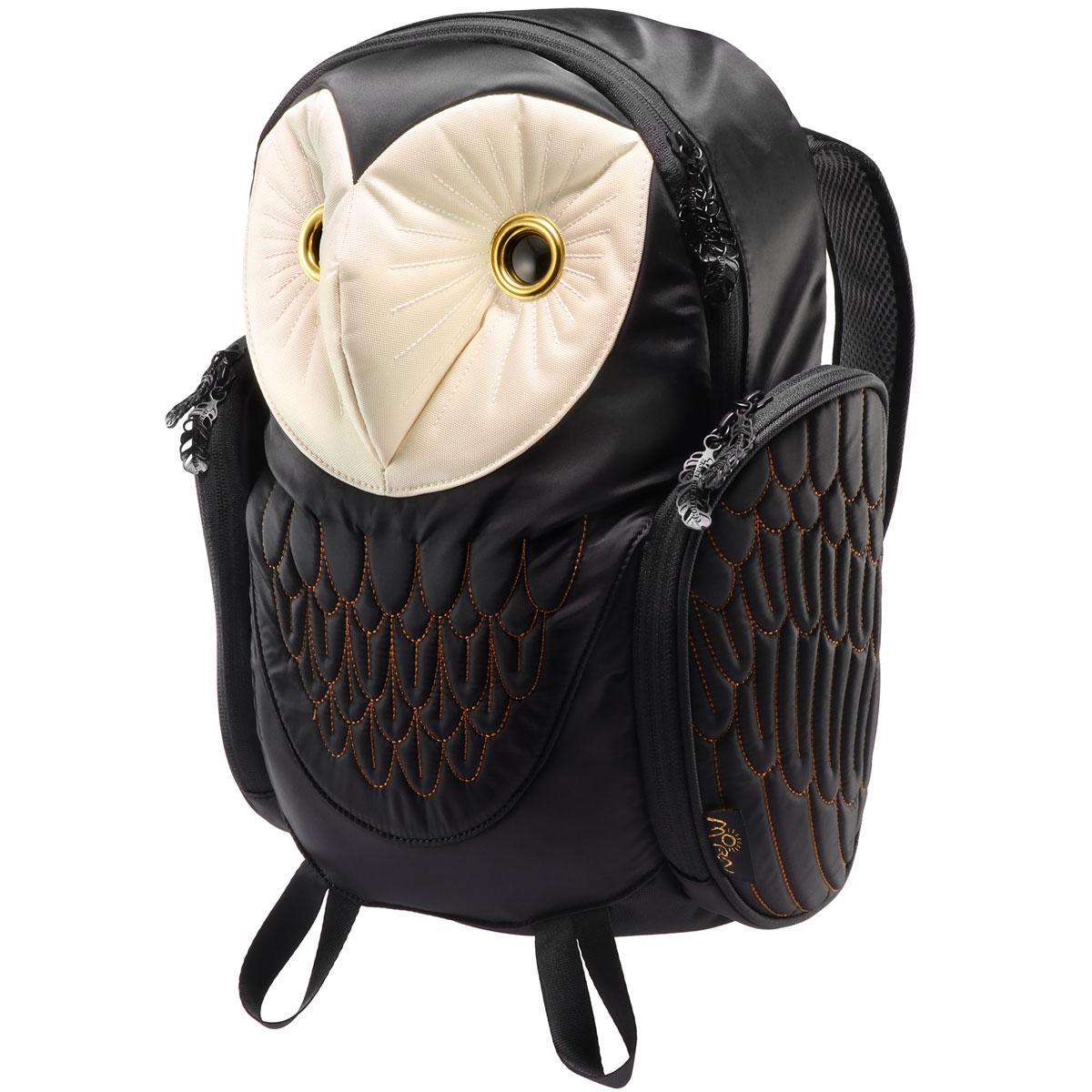 リュック MORN CREATIONS メンフクロウ バックパック Mサイズ 動物バッグ 取り出しやすい背面ポケット付き! モーンクリエイションズ フクロウ M ブラック