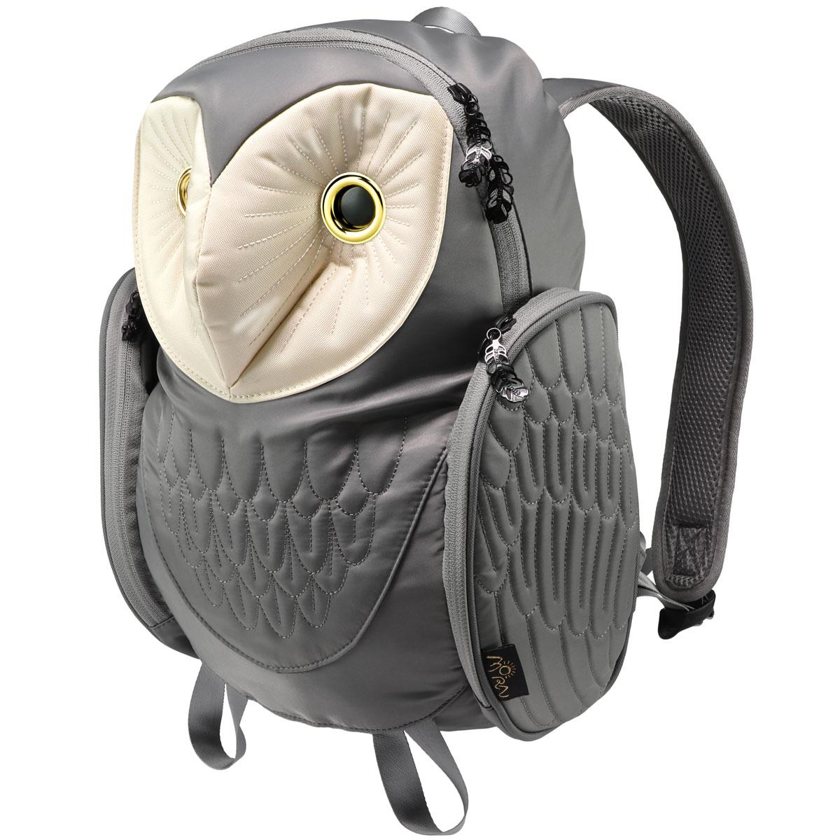 リュック MORN CREATIONS メンフクロウ バックパック Mサイズ 動物バッグ 取り出しやすい背面ポケット付き! モーンクリエイションズ フクロウ M グレー