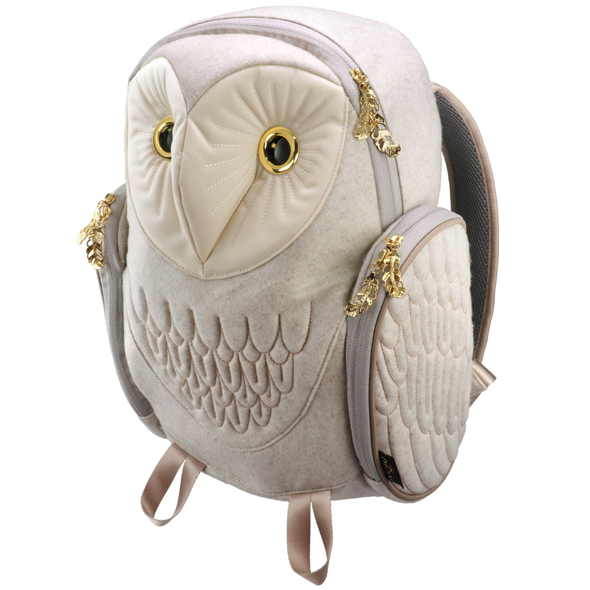 リュック MORN CREATIONS メンフクロウ バックパック Mサイズ 動物バッグ 取り出しやすい背面ポケット付き! モーンクリエイションズ フクロウ M フランネル ホワイト