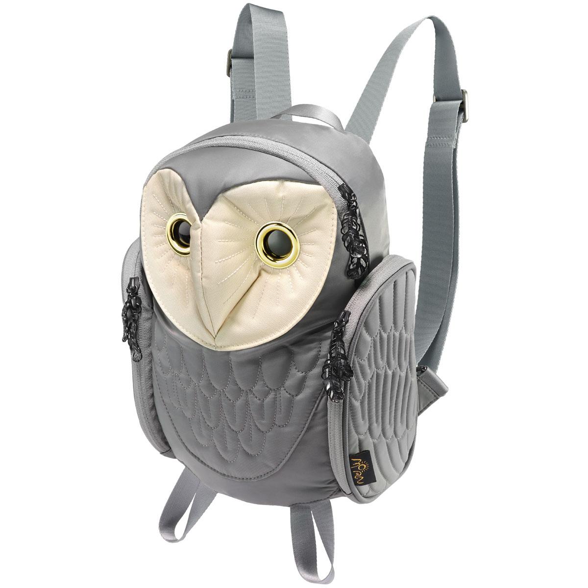 リュック MORN CREATIONS メンフクロウ バックパック レディース 動物バッグ 取り出しやすい背面ポケット付き! モーンクリエイションズ フクロウ グレー