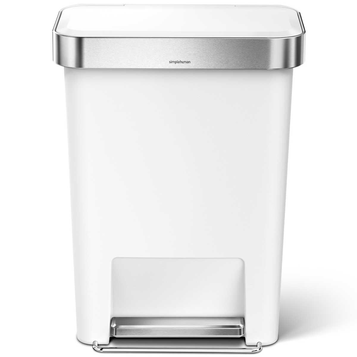 simplehuman ゴミ箱 プラスチックレクタンギュラーステップカン 45L ふた付き ペダル シンプルヒューマン 正規品 メーカー保証付き 角型ゴミ箱 45リットル CW1387 ホワイト