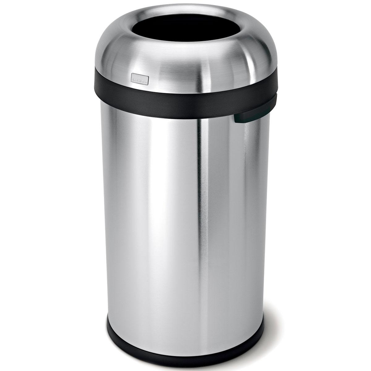 simplehuman ゴミ箱 オープンカン 60L ダストボックス ごみ箱 業務用ゴミ箱 商業施設 カフェやレストランなどにおしゃれ! シンプルヒューマン 正規品 1年間メーカー保証付き ゴミ箱 CW1407 ブレットオープンカン 60リットル