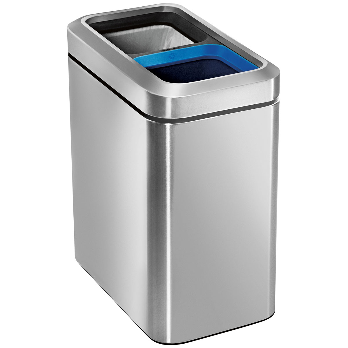 simplehuman ゴミ箱 分別スリムオープンカン 20L CW1470 ダストボックス ごみ箱 シルバー ステンレス 分別ゴミに対策に! シンプルヒューマン 正規品 1年間メーカー保証付き ゴミ箱 20リットル分別ゴミ箱(10L/10L)
