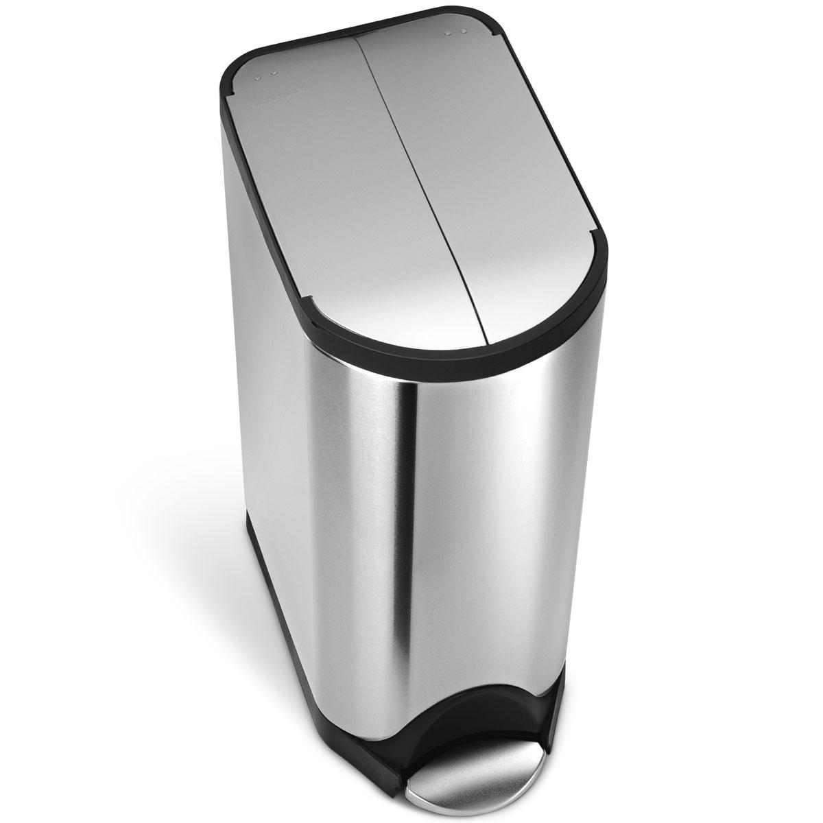simplehuman ゴミ箱 バタフライステップカン ダストボックス ごみ箱 シルバー ペダル式 フタ付き 両開き開閉 キッチンなどに スタイリッシュでオシャレなゴミ箱 シンプルヒューマン 正規品 1年間メーカー保証付き ゴミ箱 CW1824 30リットル