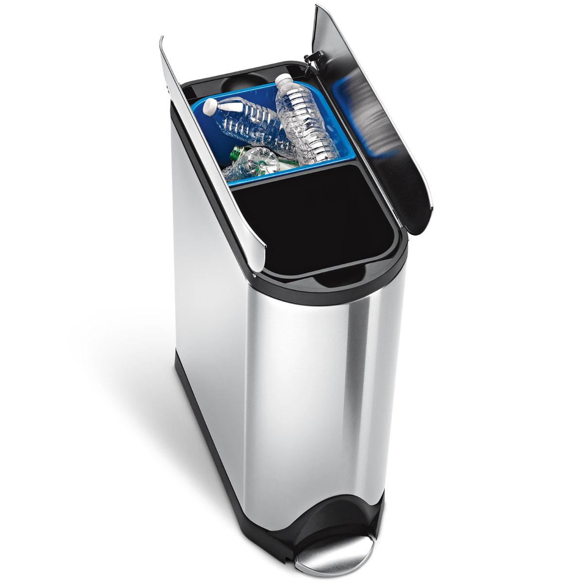 simplehuman ゴミ箱 バタフライステップカン ダストボックス ごみ箱 シルバー ペダル式 フタ付き 両開き開閉 キッチンなどに スタイリッシュでオシャレなゴミ箱 シンプルヒューマン 正規品 1年間メーカー保証付き ゴミ箱 CW2017 40リットル(20L+20L)分別タイプ
