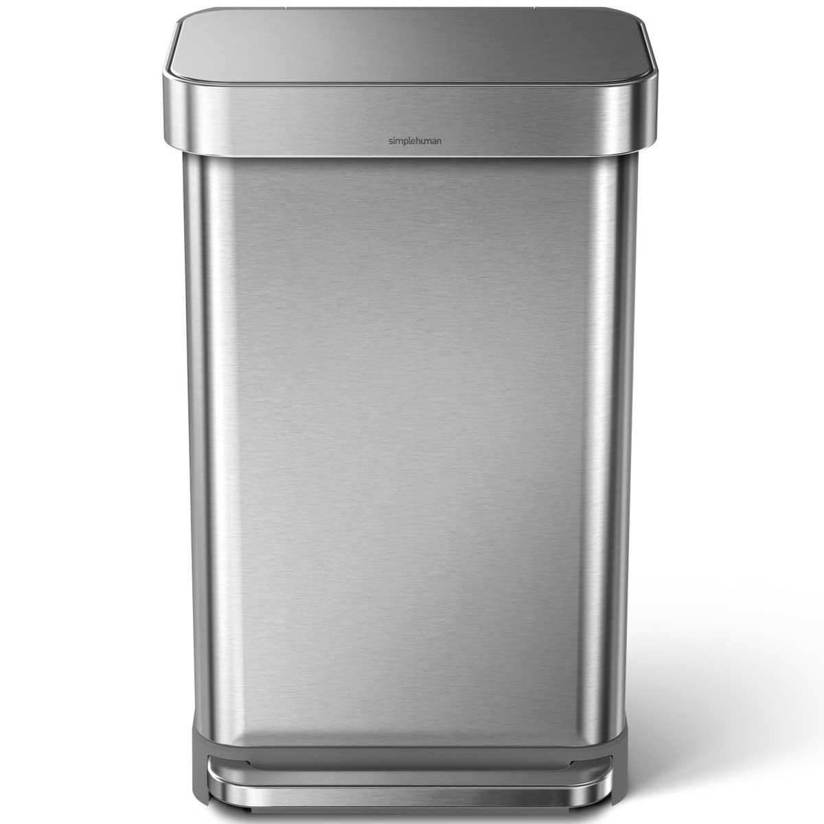 simplehuman ゴミ箱 レクタンギュラーステップカン 45L ふた付き ペダル シンプルヒューマン 正規品 メーカー保証付き 角型ゴミ箱 45リットル CW2024 ステンレスシルバー
