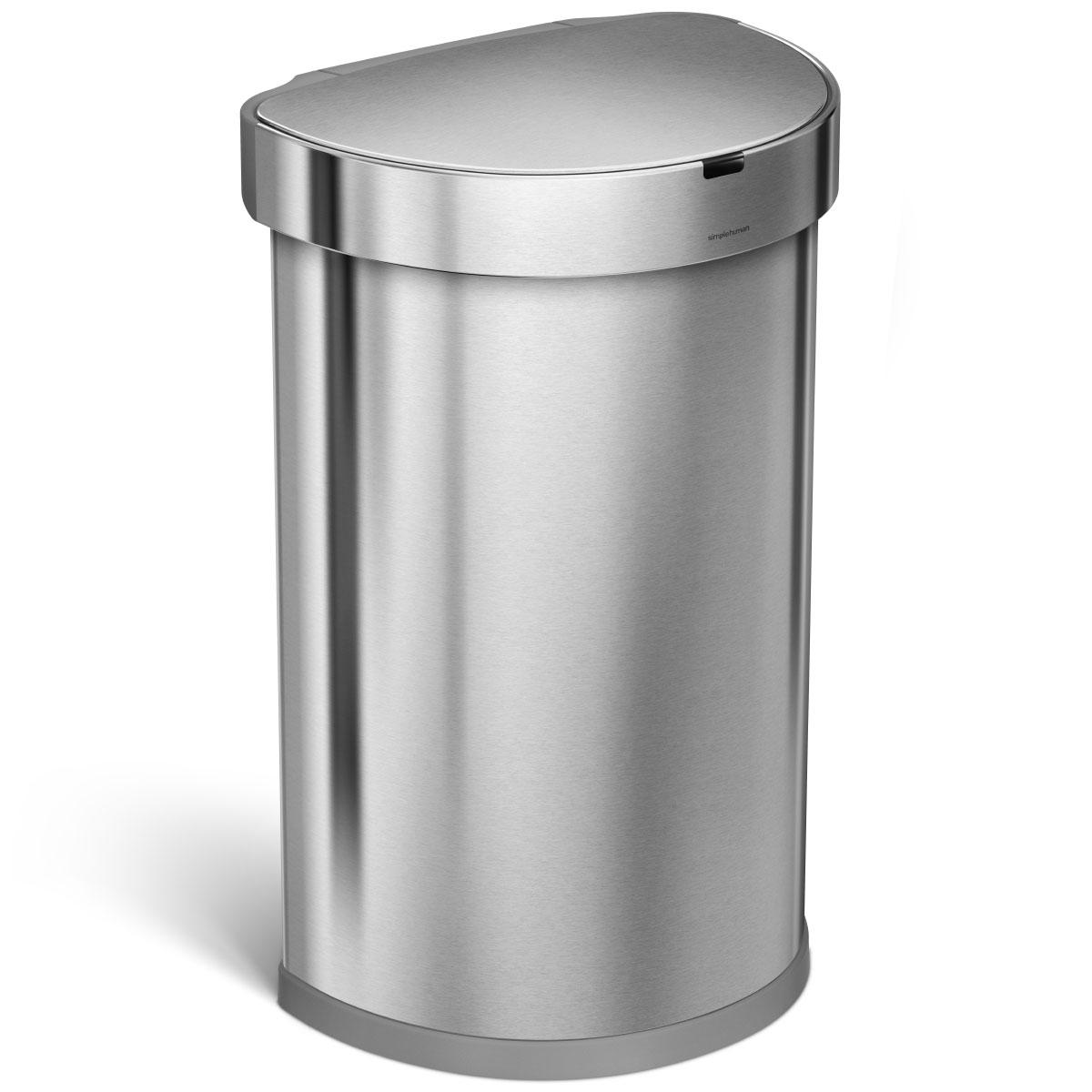 simplehuman ゴミ箱 センサーカン セミラウンド 45L ふた付き センサー式 フタ自動オープン ダストボックス ごみ箱 上質で上品でオシャレなゴミ箱です! シンプルヒューマン 正規品 メーカー保証付き ゴミ箱 45リットル ST2009 シルバー