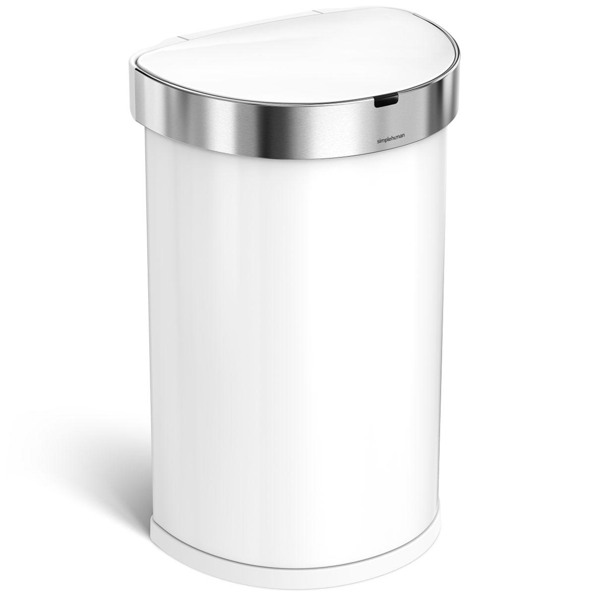simplehuman ゴミ箱 センサーカン セミラウンド 45L ふた付き センサー式 フタ自動オープン ダストボックス ごみ箱 上質で上品でオシャレなゴミ箱です! シンプルヒューマン 正規品 メーカー保証付き ゴミ箱 45リットル ST2018 ホワイト