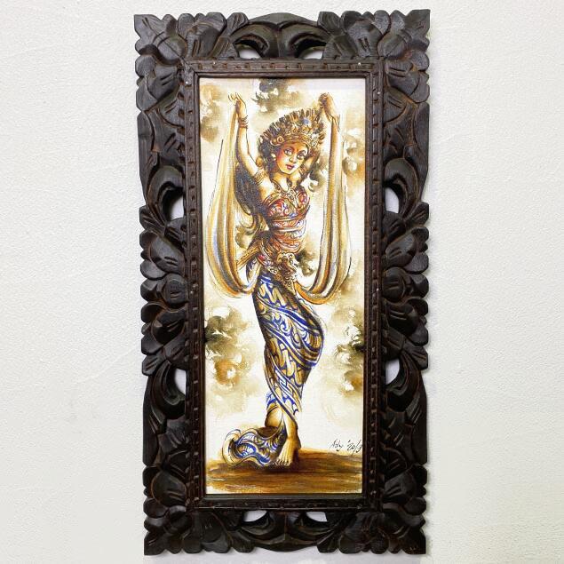 バリ絵画 人物画 レゴンダンス 2色 W33×H63cm (1466) 【バリの絵 バリアート アートパネル モダン 祭り 舞踊 民族舞踊 絵 バリ雑貨】