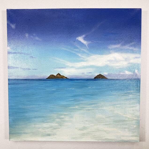 バリアート 海の絵 海と島 W50×H50cm (1497)【 バリ絵画 アートパネル サーフィン ハワイアン 南国 バリ島 ウブド 海 リゾート】