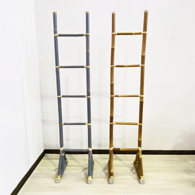メーカー再生品 見せる収納 メーカー再生品 コートハンガー アジアン家具 軽い 自立 バンブー家具 ラダーハンガー ファブリックハンガー はしごラック ラダーラック おしゃれ 竹製 H200cm シンプル 2色