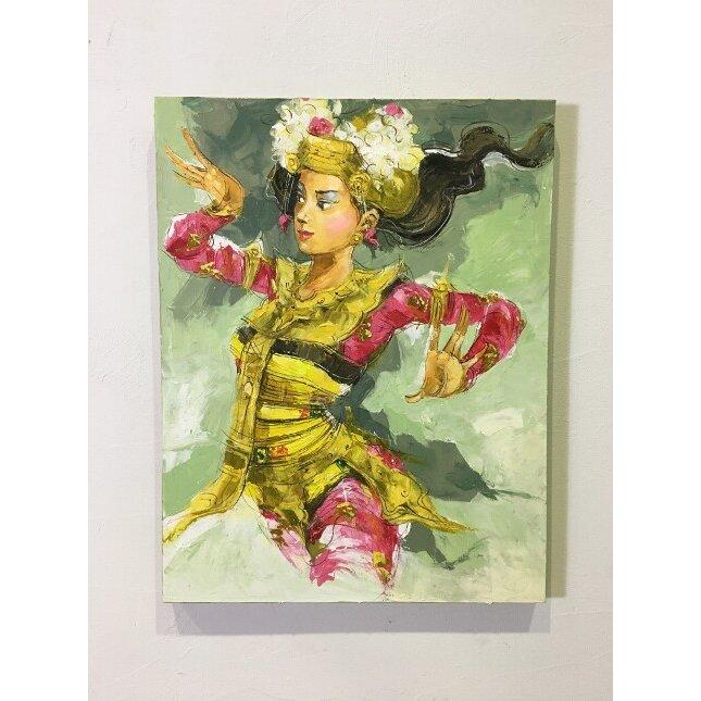 バリ絵画 人物画 レゴンダンス A-3 W70×H90(1162-3) 【本州送料無料 バリの絵 バリアート アートパネル モダン 祭り 舞踊 民族舞踊 絵 バリ雑貨】