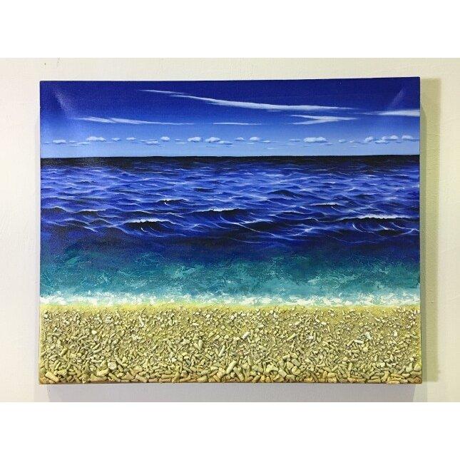 バリ島絵画 本物のサンゴの立体的な砂浜 フレームなし W100cm×H80cm (1163) 【壁掛け インテリア バリアート 風景画 バリ絵画 アートパネル】