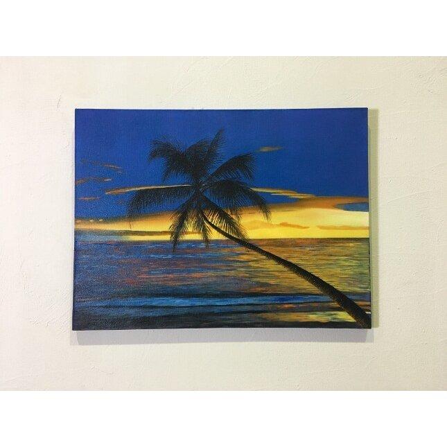 バリアート 海の絵 ヤシとサンセット ビーチ D-6 W80×H60 (1165-6) 【バリ絵画 海の絵 アートパネル サーフィン ハワイアン 南国 バリ島 ウブド 海 リゾート】