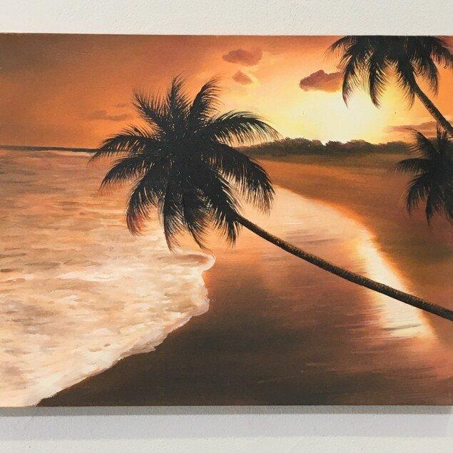 バリアート 海の絵 ヤシとサンセット ビーチ E-3 W50×H40cm (1170-3) 【バリ絵画 海の絵 アートパネル サーフィン ハワイアン 南国 バリ島 ウブド 海 リゾート】