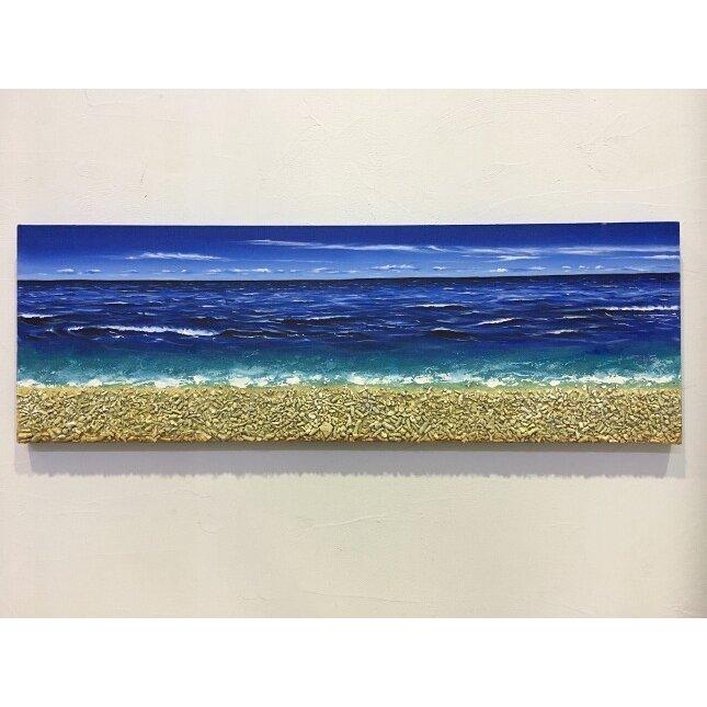 バリ島絵画 海の絵 本物のサンゴの立体的な砂浜 フレームなし W150×H50 (1180) 【 壁掛け インテリア アート 風景画 バリ絵画 アートパネル ウォールパネル】