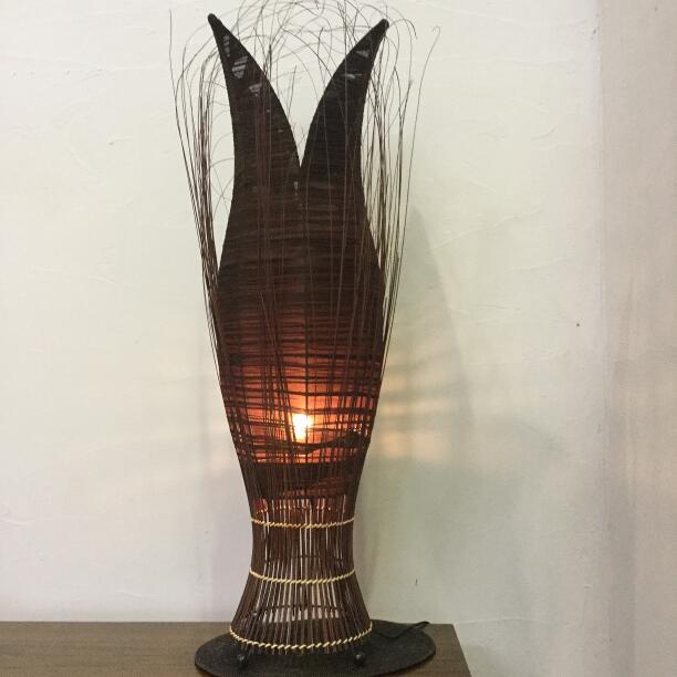 スタンドライト フロアライト チューリップ パームデザインランプ L 100cm ブラウン【アジアン照明 アジアンライト おしゃれ スタンドランプ 寝室 バリ】