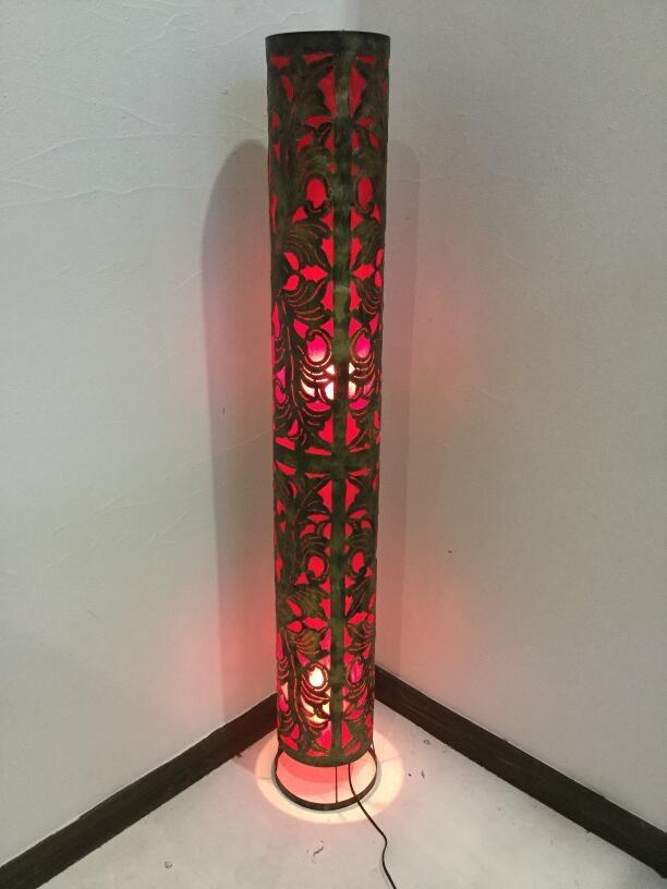 フロアライト アイアンデザインのシリンダーランプ H150cm 赤【アジアン照明 アジアンライト スタンドランプ フロアライト おしゃれ バリ インテリア アジアンランプ】