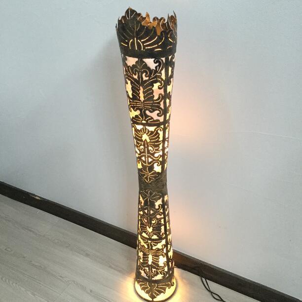 フロアライト シェルとアイアンのランプ DIABLO H100cm【アジアン照明 アジアンライト スタンドランプ おしゃれ バリ インテリア アジアンランプ】