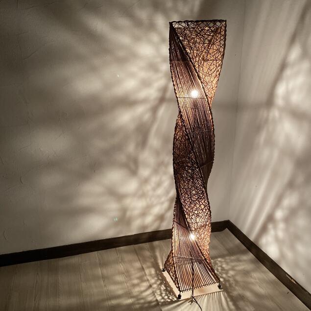 スタンドランプ ラタン スクリューランプ H150cm 【アジアン照明 アジアンライト フロアランプ 照明 間接照明 おしゃれ 和モダン アジアン】