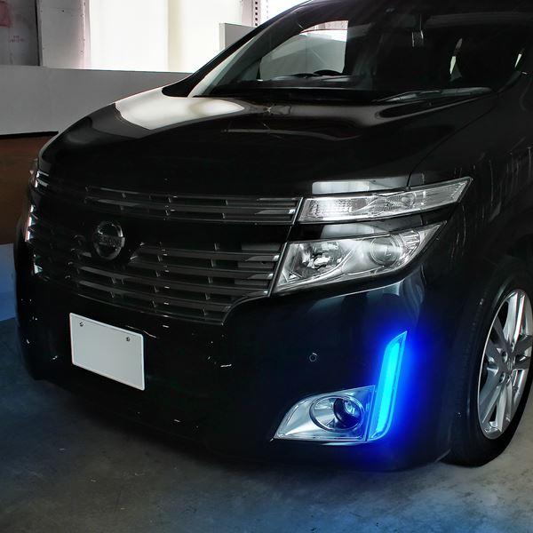 Nissan Elgrand E52 LED bumper lights white blue 21 lights fog lights daylight parts NISSAN year