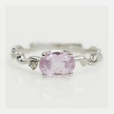 限定10本 ピンクインペリアルトパーズ×ローズカットダイヤリング「プリマ」 誕生石 4月 11月 春色ピンク