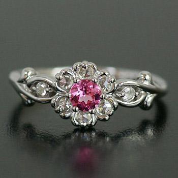 「ブルボンクィーン」ピンクスピネル×ローズカットダイヤモンドリング[マリア・ローザ] 誕生石 4月 春色ピンク