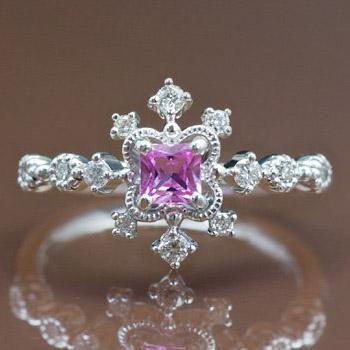 GWイベント開催中 ピンクサファイアXダイヤモンドリング「デコーレ」 誕生石 4月 9月 春色ピンク2020 母の日