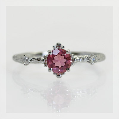 GWイベント開催中 ピンクトルマリン×ローズカットダイヤモンドリング 誕生石 4月 10月 春色ピンク2020 母の日