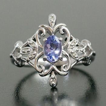 「アンティークフレーム」タンザナイト×ダイヤモンドリング 誕生石 4月 12月
