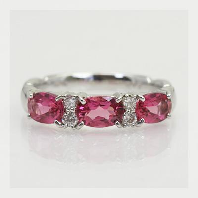 GWイベント開催中 「トリプル」ルベライト×ダイヤモンドリング 誕生石 4月 春色ピンク2020 母の日