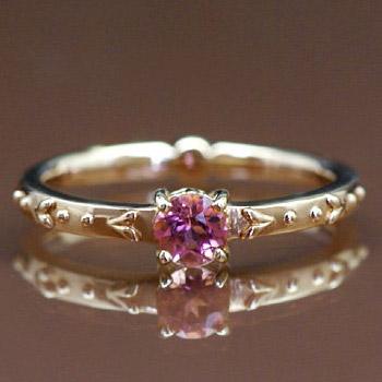 ピンクトルマリンリング「リリウム」 誕生石 10月 春色ピンク