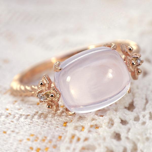 ローズクォーツ×ダイヤモンドリング「ビオラ」K10、K18金種対応こちらはK18仕様、K10仕様は別ページにございます。 誕生石 4月 春色ピンク