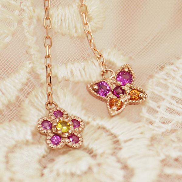 サファイア×ローズカットダイヤピアス「花舞い」 誕生石 4月 9月