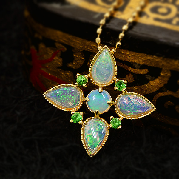Benebene rakuten global market white opal x green garnet cross white opal x green garnet cross pendant mozeypictures Gallery