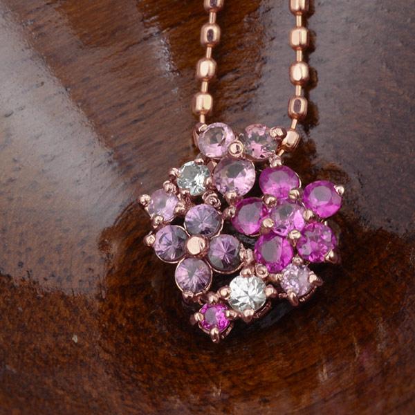 GWイベント開催中 ルビー×ピンクサファイアペンダントトップ「薔薇のフロレアーレ」 誕生石 7月 9月 春色ピンク2020 母の日