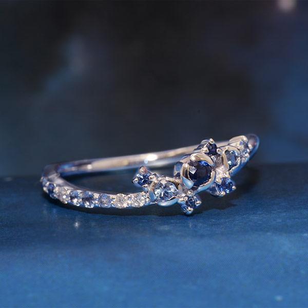 GWイベント開催中 ブルーサファイア×ダイヤモンドリング「ネビュラ」 誕生石 4月 9月 母の日