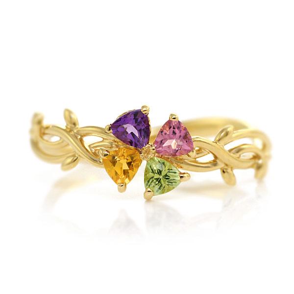 自由に選べる宝石。アミュレットリング「クローバー」jewelry_benebene