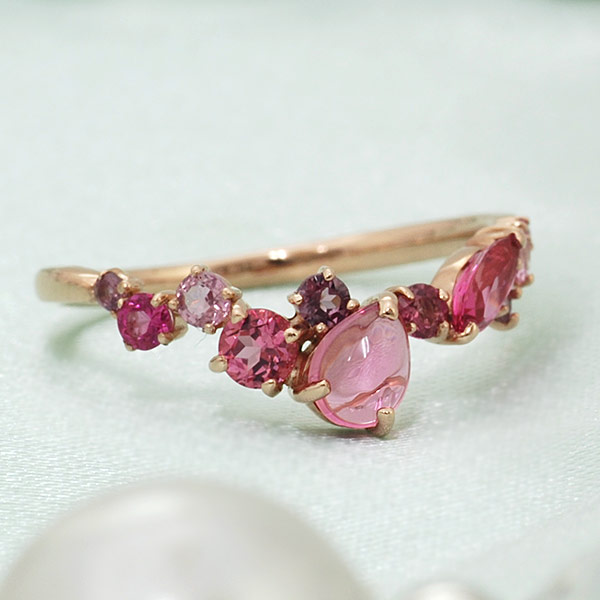 GWイベント開催中 ピンクトルマリン×ピンクスピネルリング「薔薇のエッセンス」 誕生石 10月 春色ピンク2020 母の日