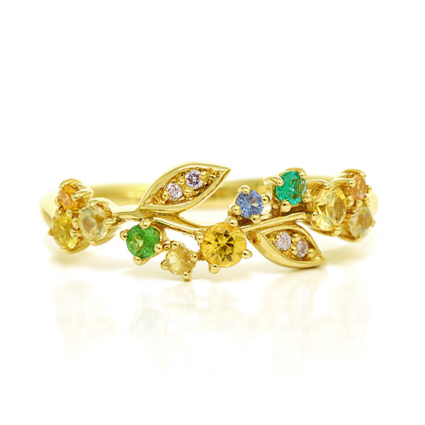 イエローサファイア×エメラルド×ダイヤモンドリング「サマーローズ」jewelry_benebene 誕生石 4月 5月 9月