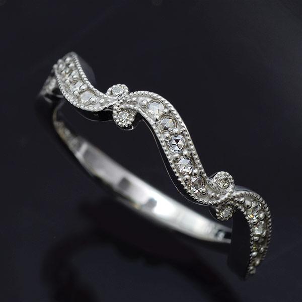 バレエコレクション ローズカットダイヤ×ダイヤモンドリング「トゥシューズリボン」 誕生石 4月