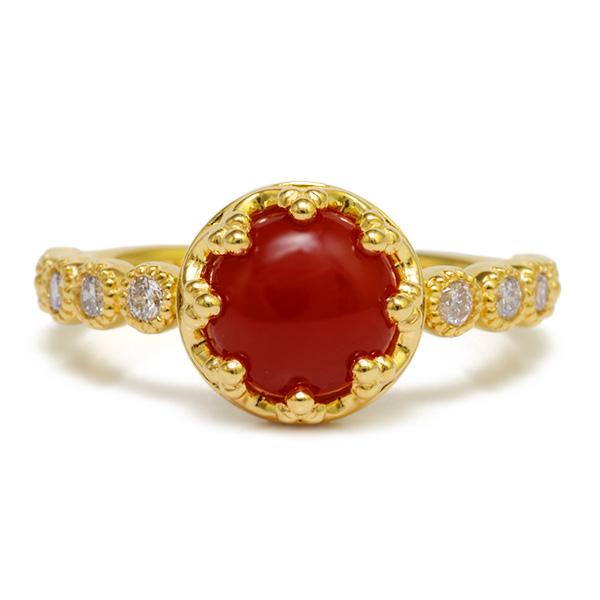 血赤珊瑚7mm×ダイヤモンドリング「ミル」 誕生石 3月 4月